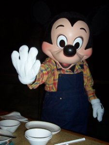 Mickey Mouse saying hello during our 2007 visit to Disney World.